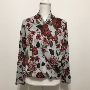 Pleione Gray Floral Draped Front Sweater